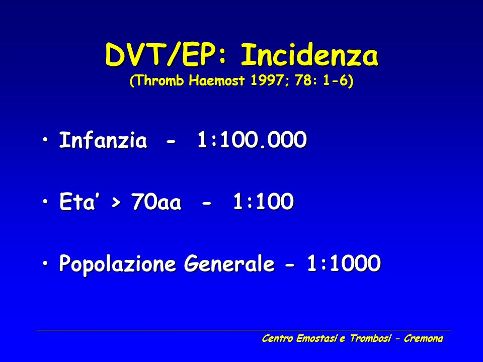 DVT/EP: Incidenza (Thromb Haemost 1997; 78: 1-6)