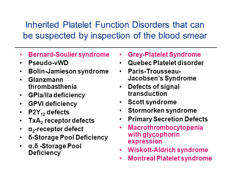 Inherited Platelet Function Disorders that can be suspected by inspection of the blood smear