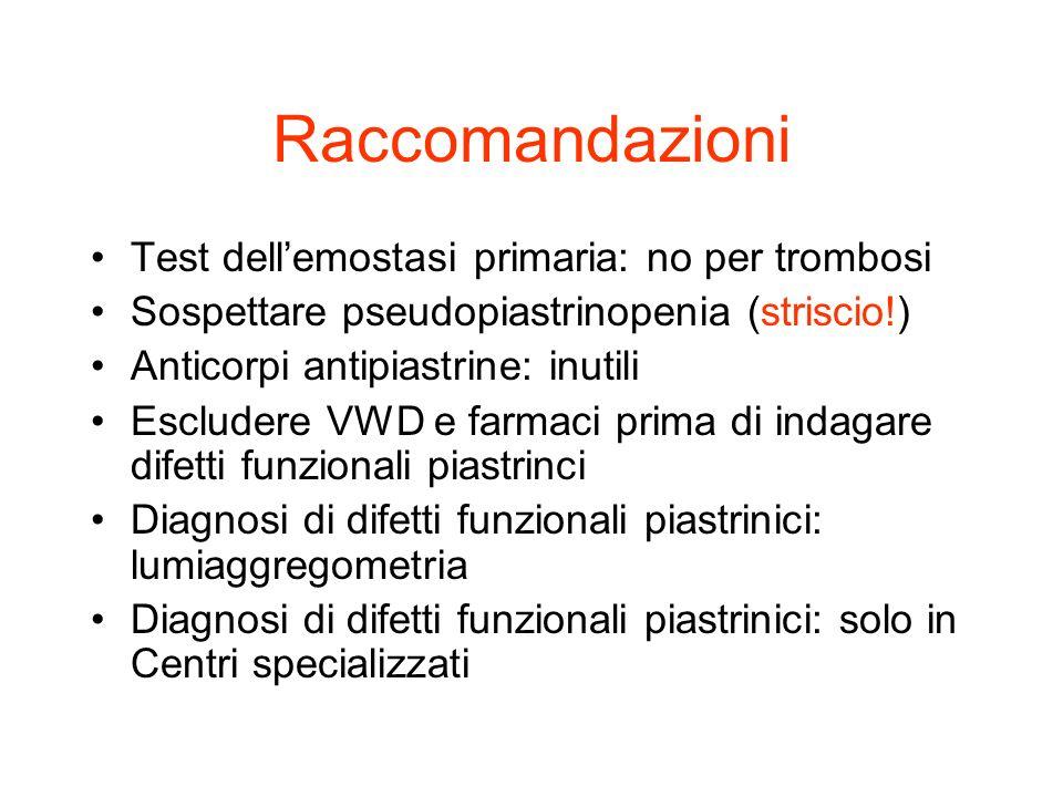 Raccomandazioni Test dell'emostasi primaria: no per trombosi