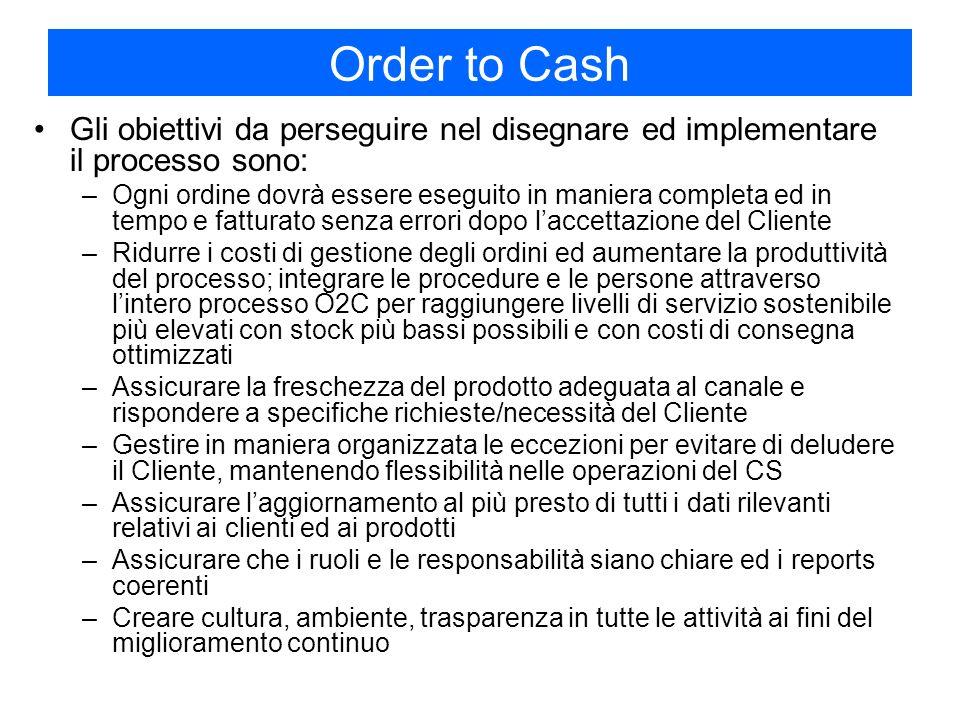 Order to Cash Gli obiettivi da perseguire nel disegnare ed implementare il processo sono:
