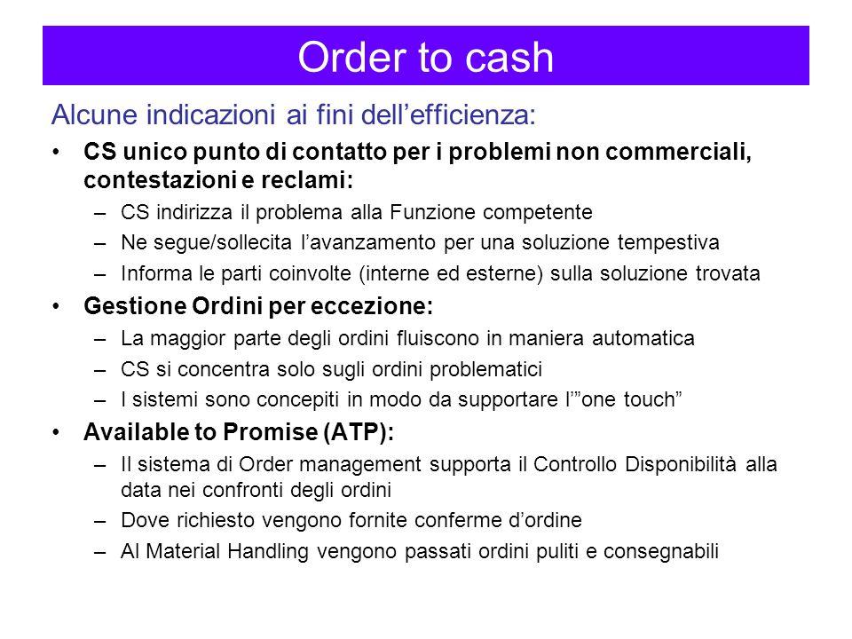 Order to cash Alcune indicazioni ai fini dell'efficienza: