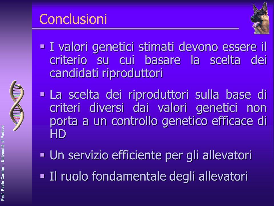 Conclusioni I valori genetici stimati devono essere il criterio su cui basare la scelta dei candidati riproduttori.