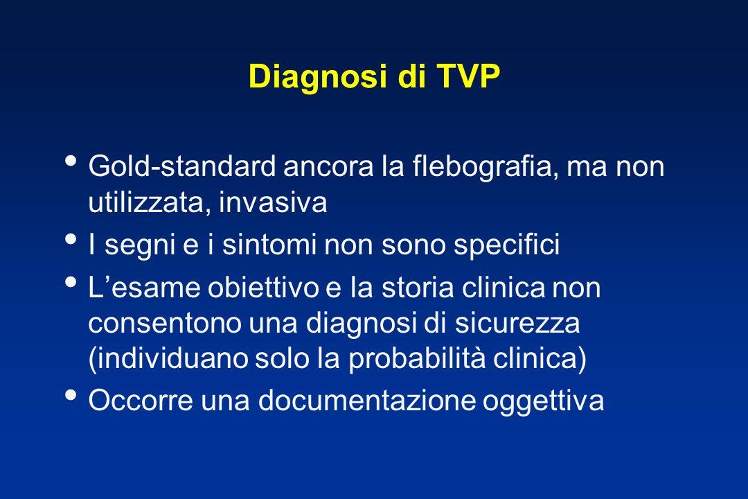 Diagnosi di TVP Gold-standard ancora la flebografia, ma non utilizzata, invasiva. I segni e i sintomi non sono specifici.