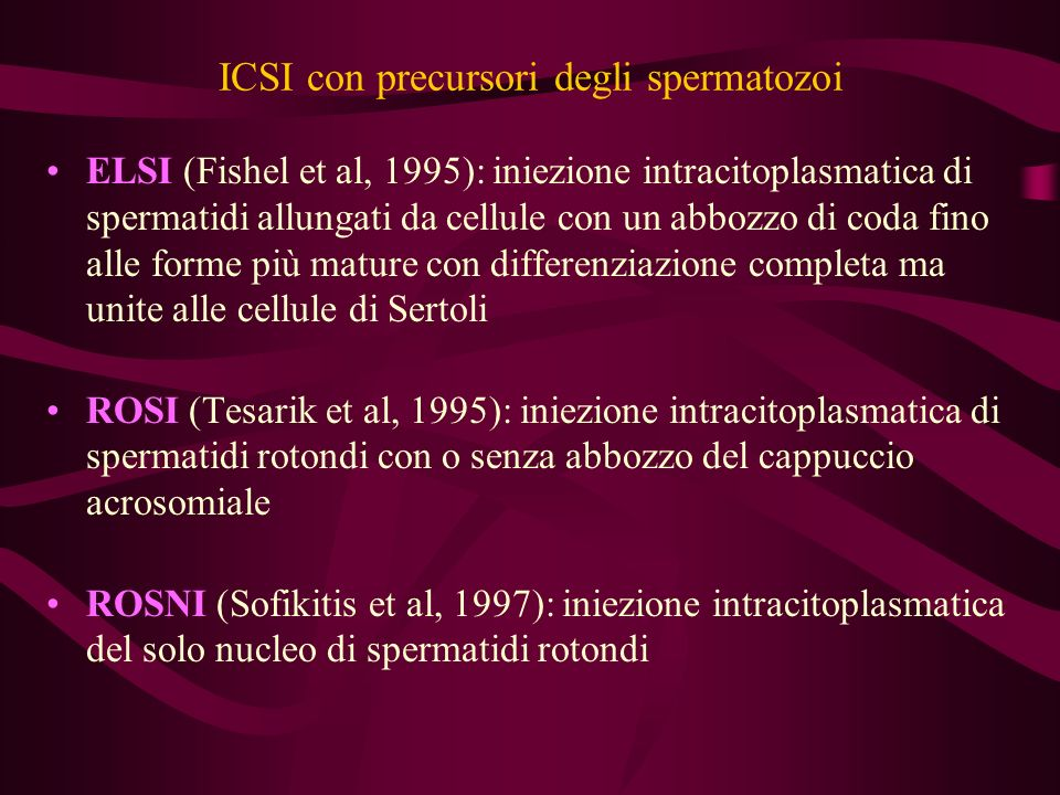 ICSI con precursori degli spermatozoi