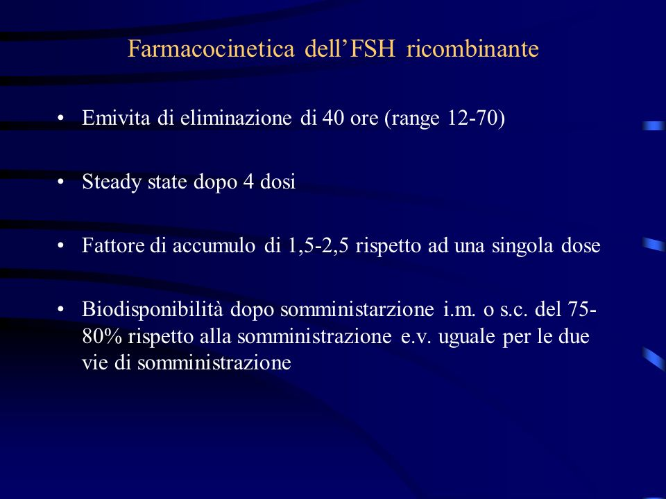 Farmacocinetica dell'FSH ricombinante