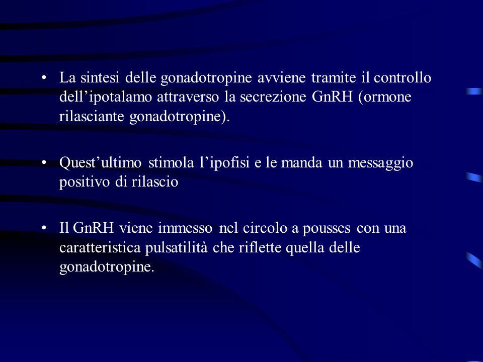 La sintesi delle gonadotropine avviene tramite il controllo dell'ipotalamo attraverso la secrezione GnRH (ormone rilasciante gonadotropine).