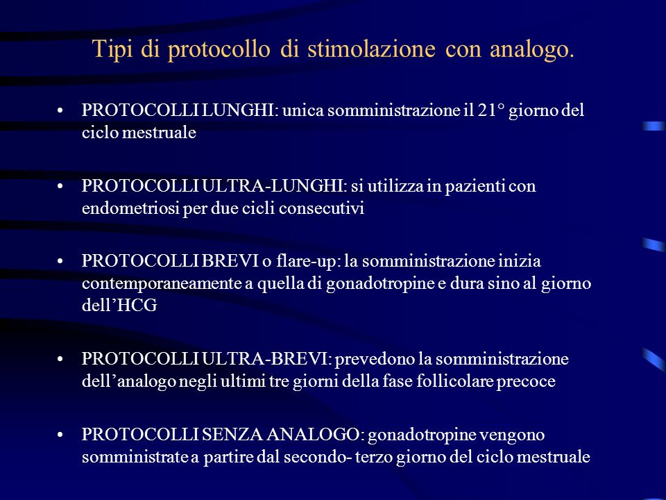 Tipi di protocollo di stimolazione con analogo.