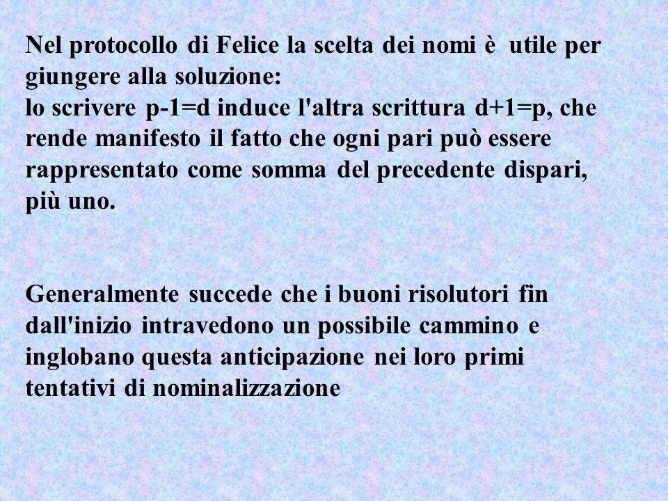 Nel protocollo di Felice la scelta dei nomi è utile per giungere alla soluzione: