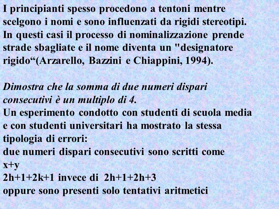 I principianti spesso procedono a tentoni mentre scelgono i nomi e sono influenzati da rigidi stereotipi. In questi casi il processo di nominalizzazione prende strade sbagliate e il nome diventa un designatore rigido (Arzarello, Bazzini e Chiappini, 1994).