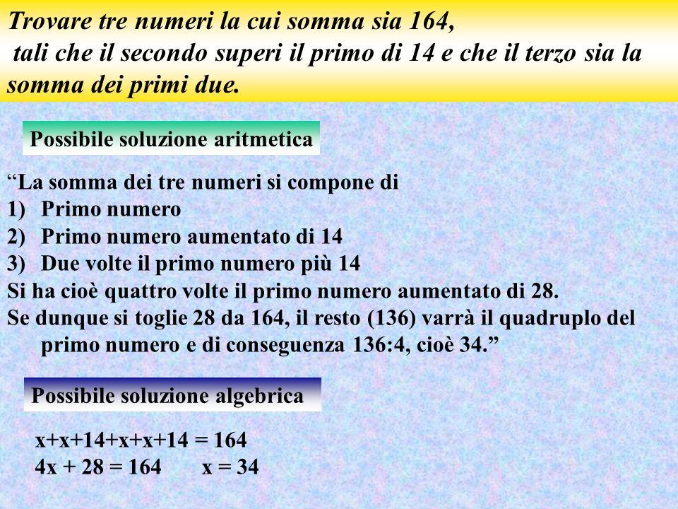 Trovare tre numeri la cui somma sia 164,