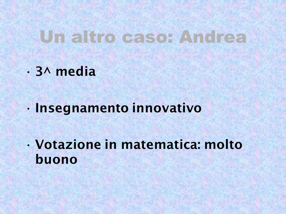 Un altro caso: Andrea 3^ media Insegnamento innovativo