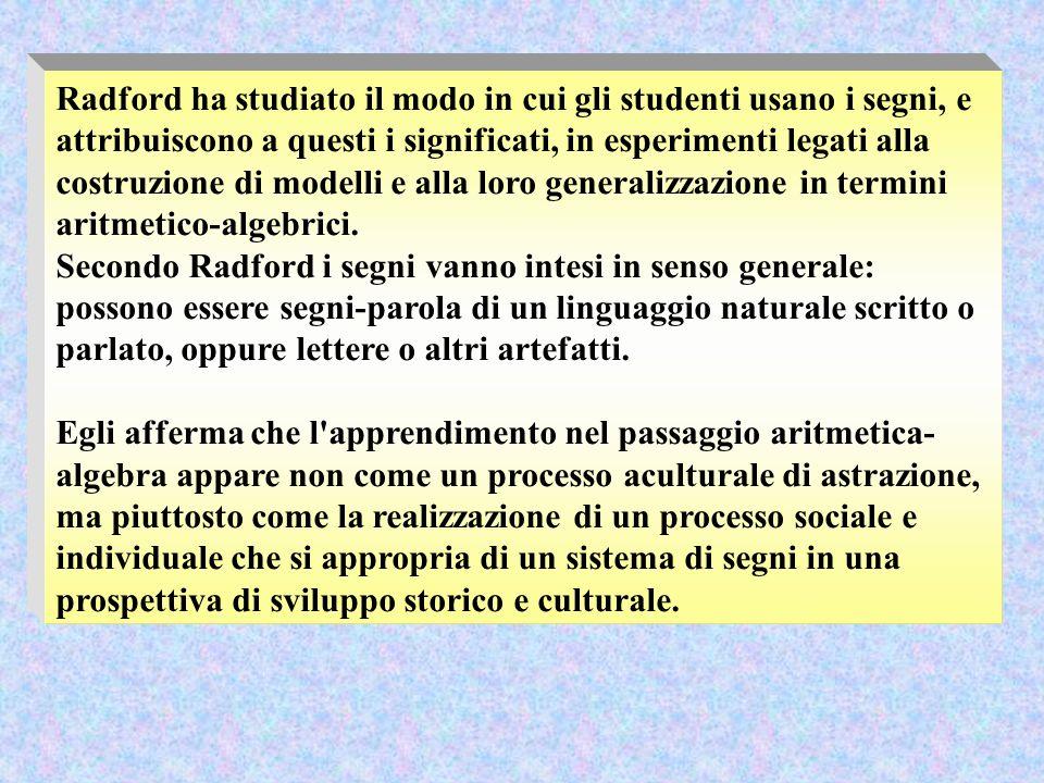 Radford ha studiato il modo in cui gli studenti usano i segni, e attribuiscono a questi i significati, in esperimenti legati alla costruzione di modelli e alla loro generalizzazione in termini aritmetico-algebrici.
