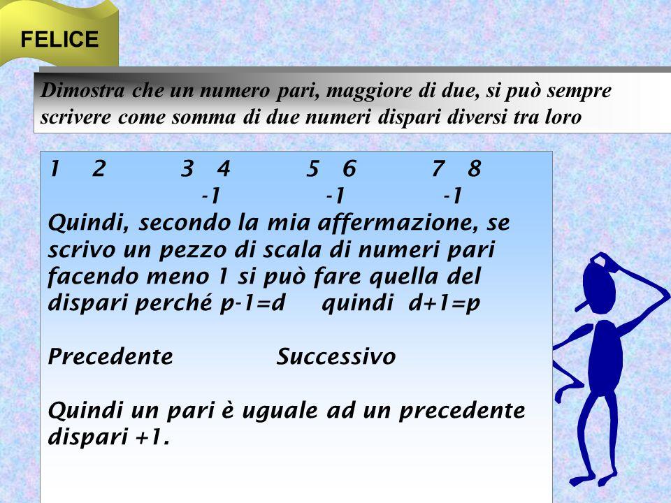 FELICE Dimostra che un numero pari, maggiore di due, si può sempre scrivere come somma di due numeri dispari diversi tra loro.