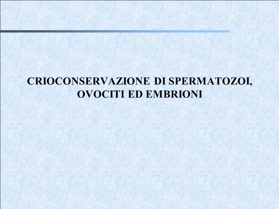 CRIOCONSERVAZIONE DI SPERMATOZOI, OVOCITI ED EMBRIONI