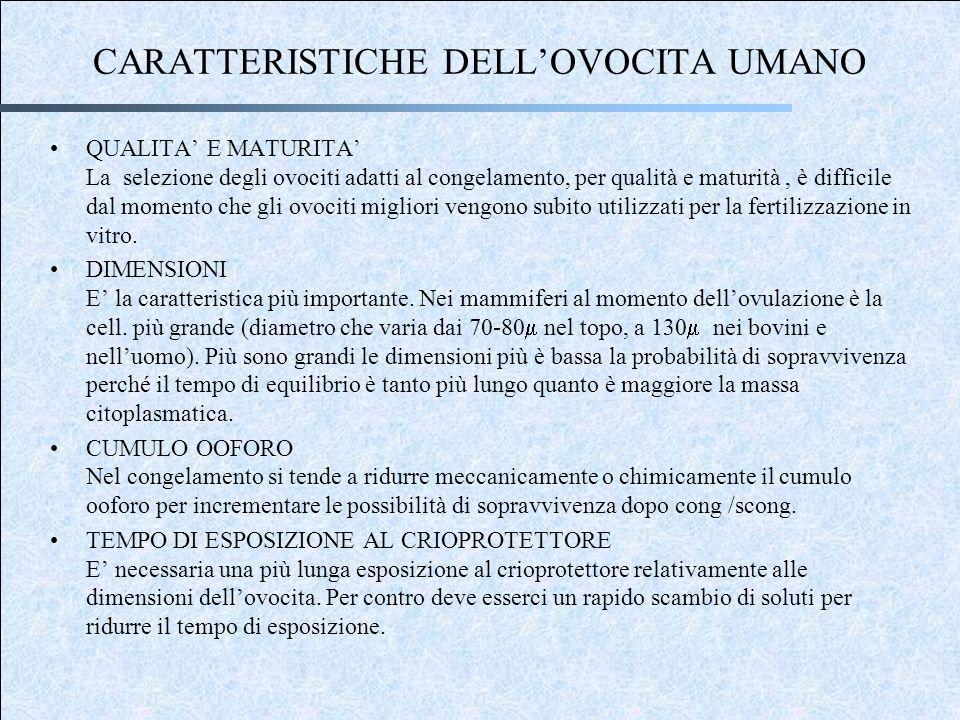 CARATTERISTICHE DELL'OVOCITA UMANO
