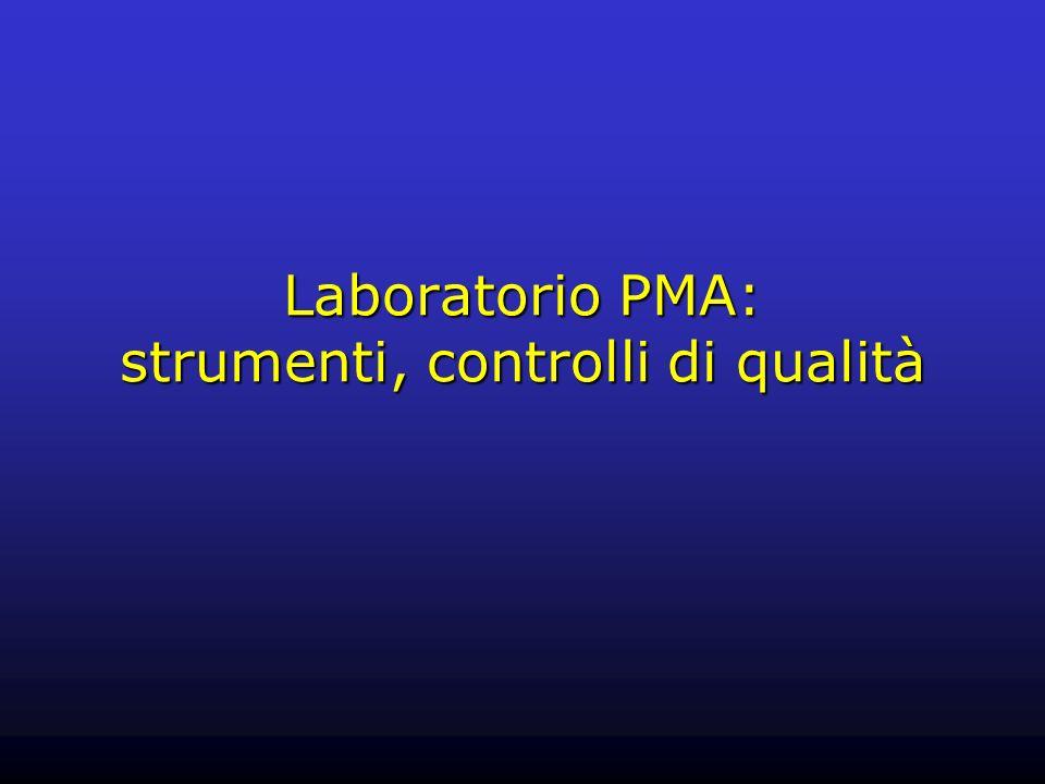 Laboratorio PMA: strumenti, controlli di qualità