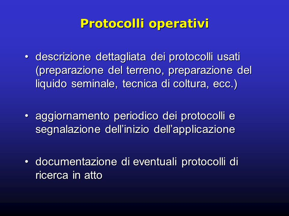 Protocolli operativi