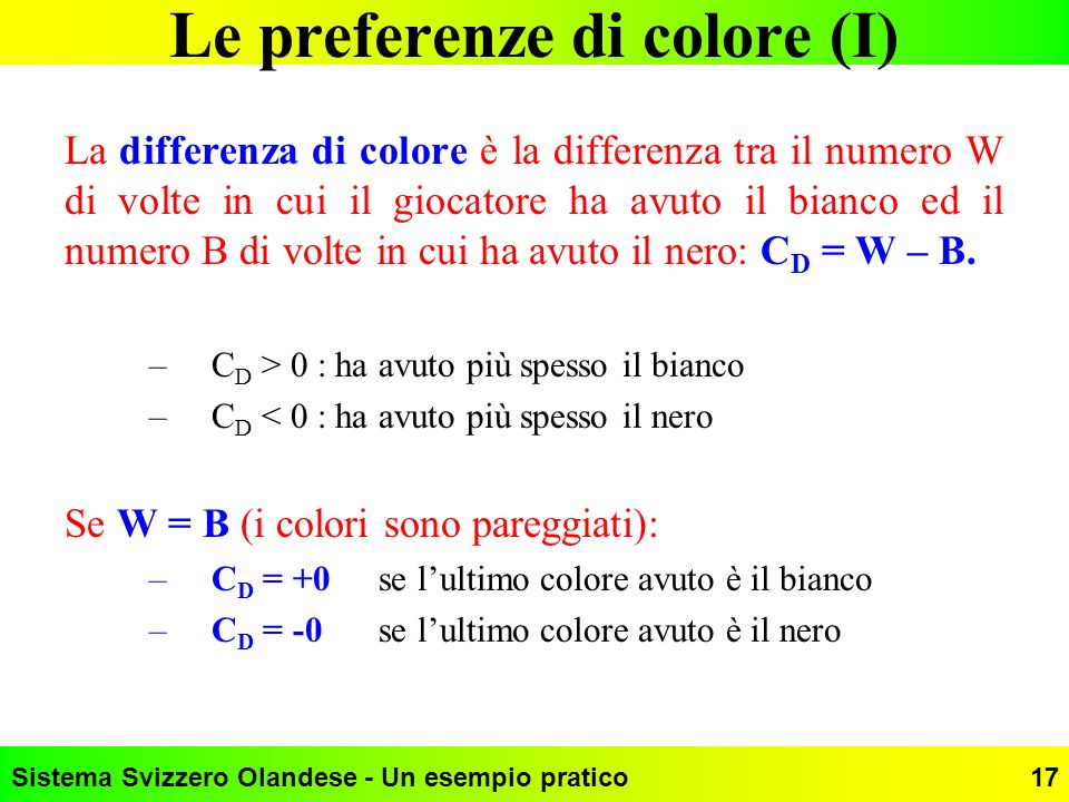 Le preferenze di colore (I)