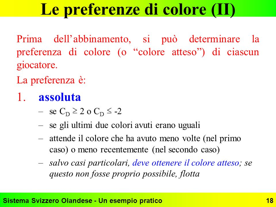 Le preferenze di colore (II)