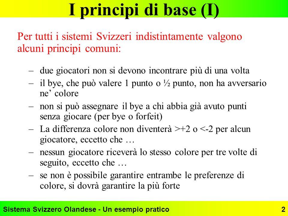 I principi di base (I) Per tutti i sistemi Svizzeri indistintamente valgono alcuni principi comuni: