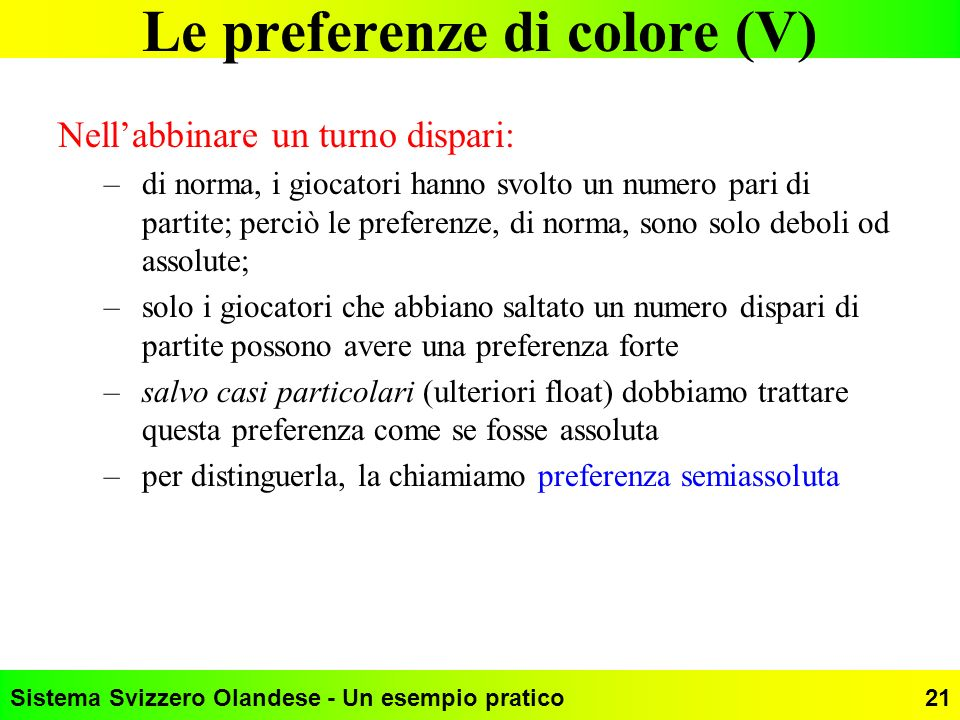 Le preferenze di colore (V)