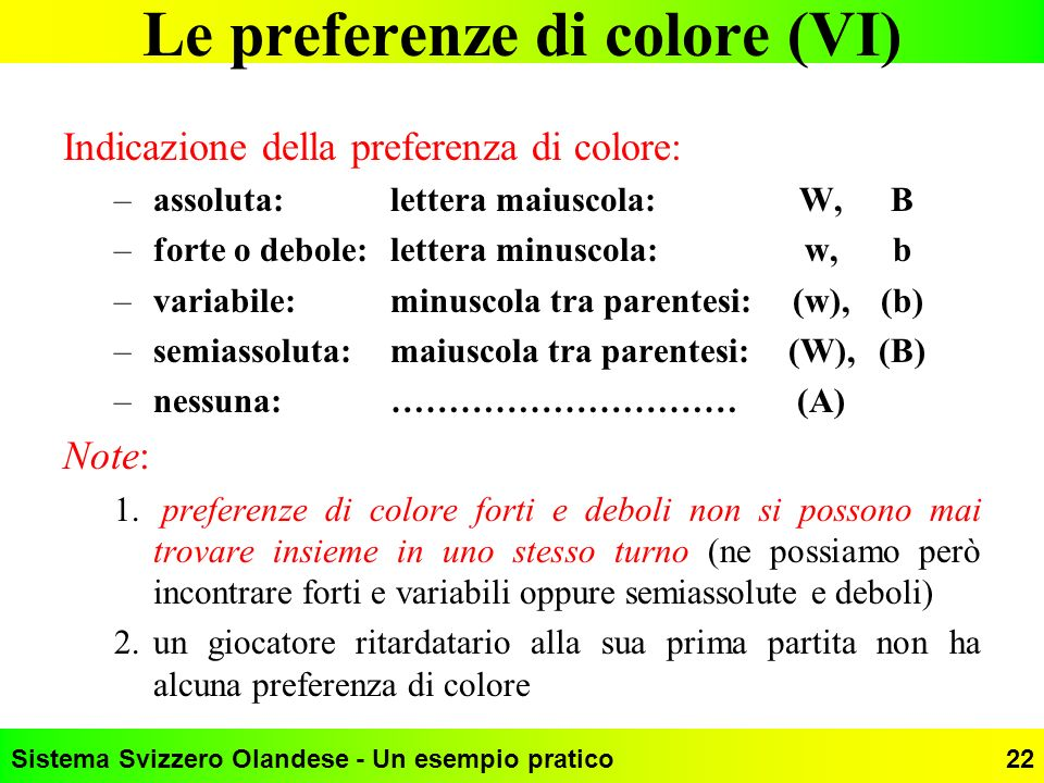 Le preferenze di colore (VI)