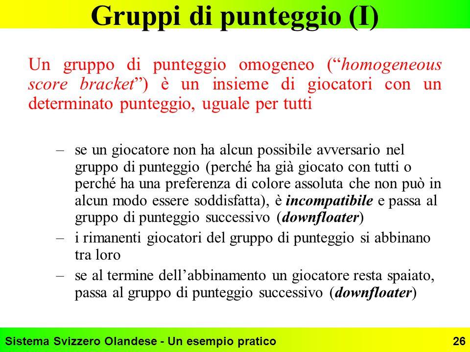 Gruppi di punteggio (I)