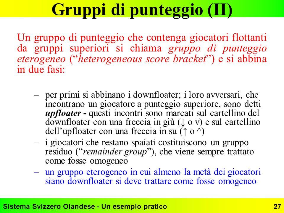 Gruppi di punteggio (II)