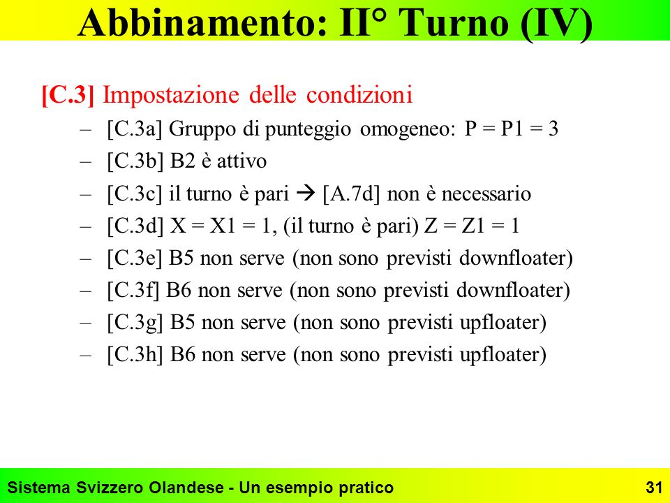 Abbinamento: II° Turno (IV)