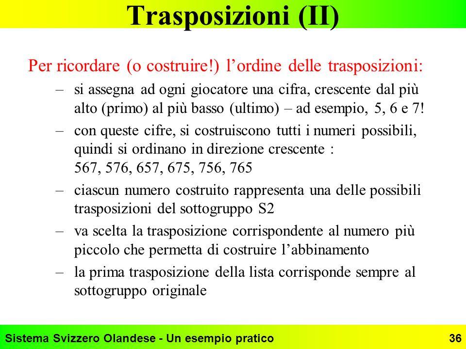 Trasposizioni (II) Per ricordare (o costruire!) l'ordine delle trasposizioni: