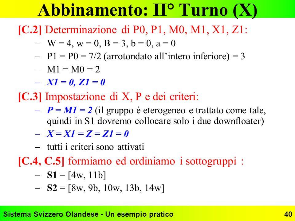 Abbinamento: II° Turno (X)