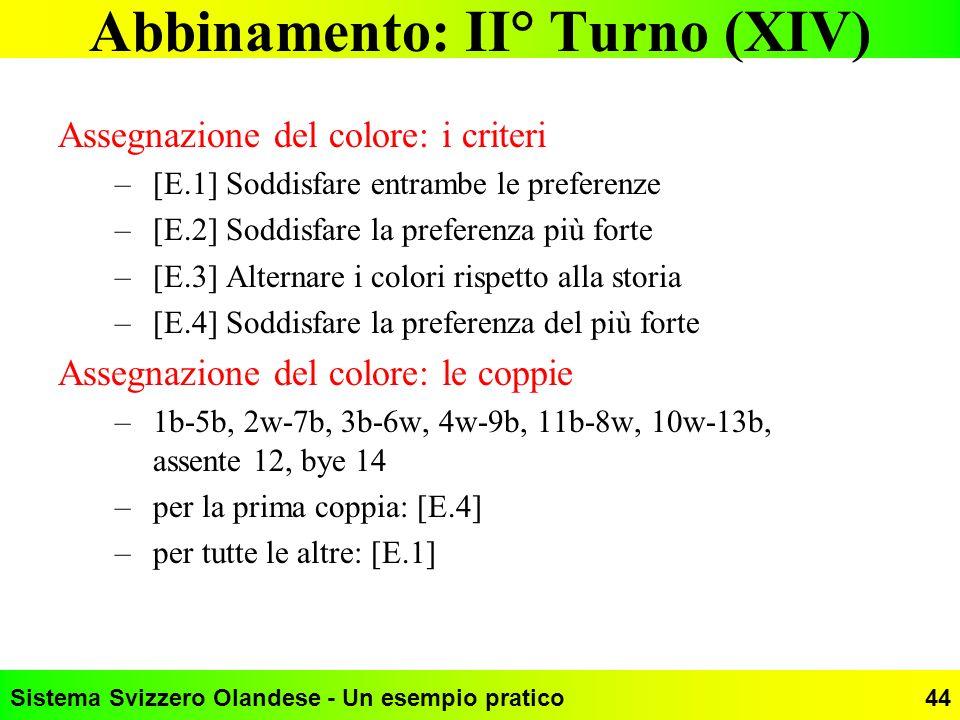 Abbinamento: II° Turno (XIV)
