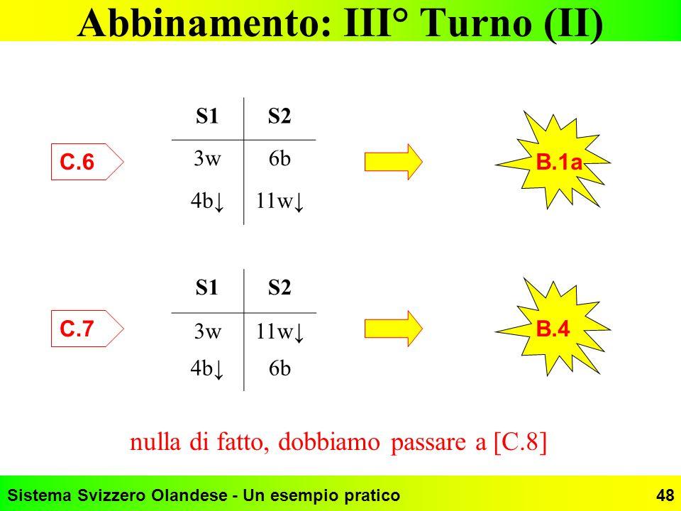 Abbinamento: III° Turno (II)