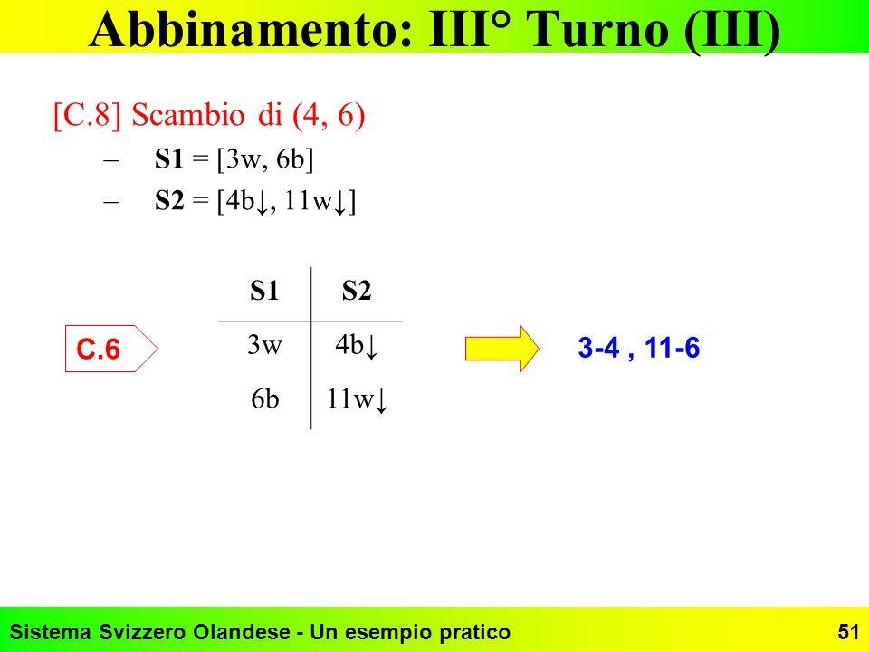 Abbinamento: III° Turno (III)