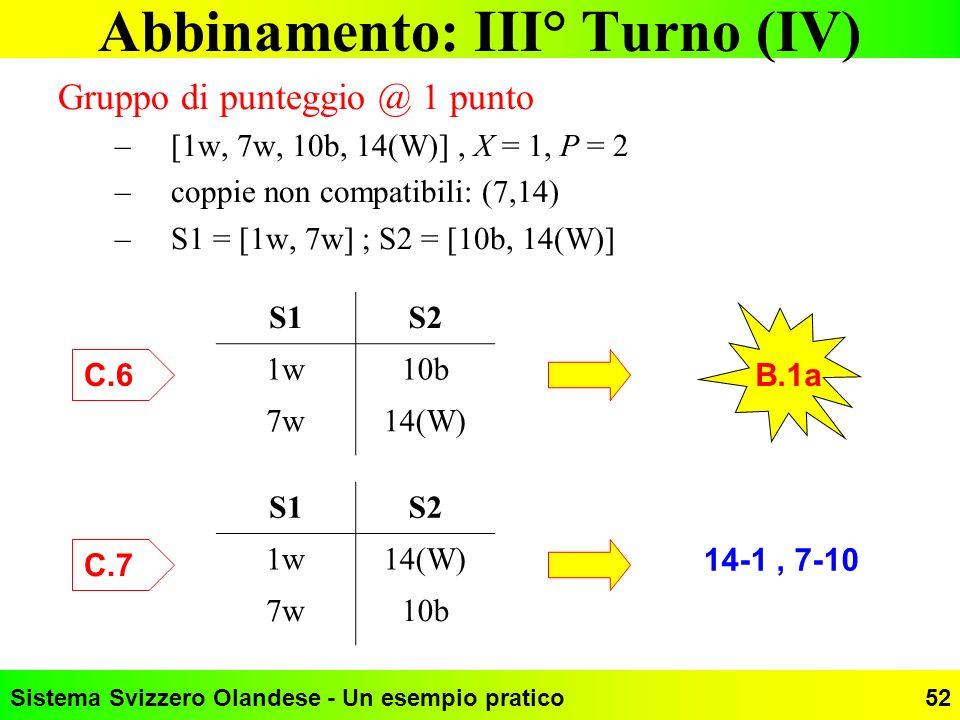 Abbinamento: III° Turno (IV)