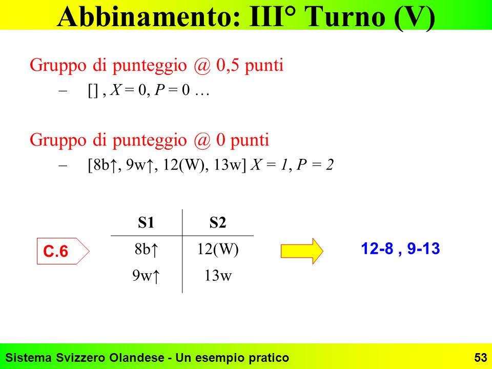 Abbinamento: III° Turno (V)