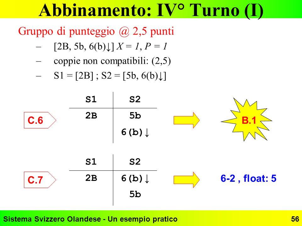 Abbinamento: IV° Turno (I)