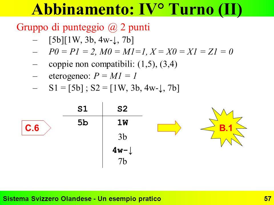 Abbinamento: IV° Turno (II)