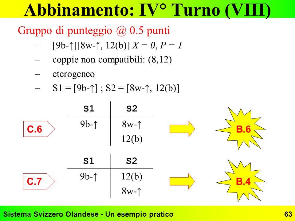 Abbinamento: IV° Turno (VIII)