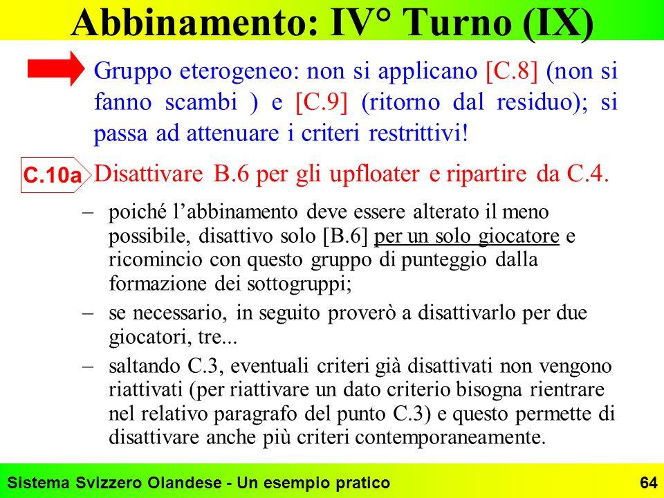 Abbinamento: IV° Turno (IX)
