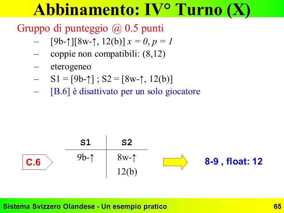 Abbinamento: IV° Turno (X)