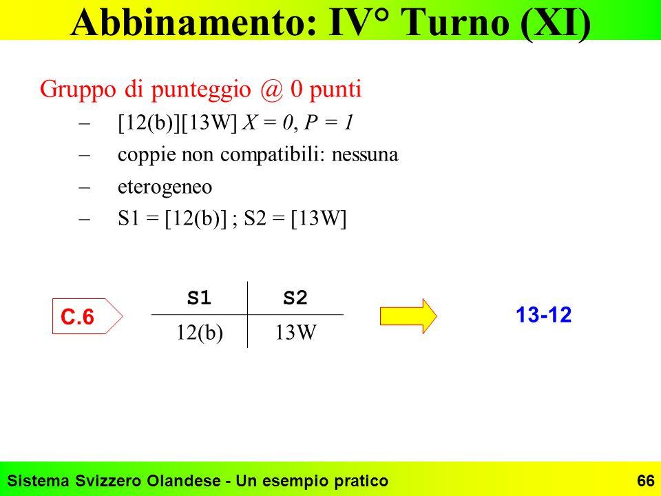 Abbinamento: IV° Turno (XI)