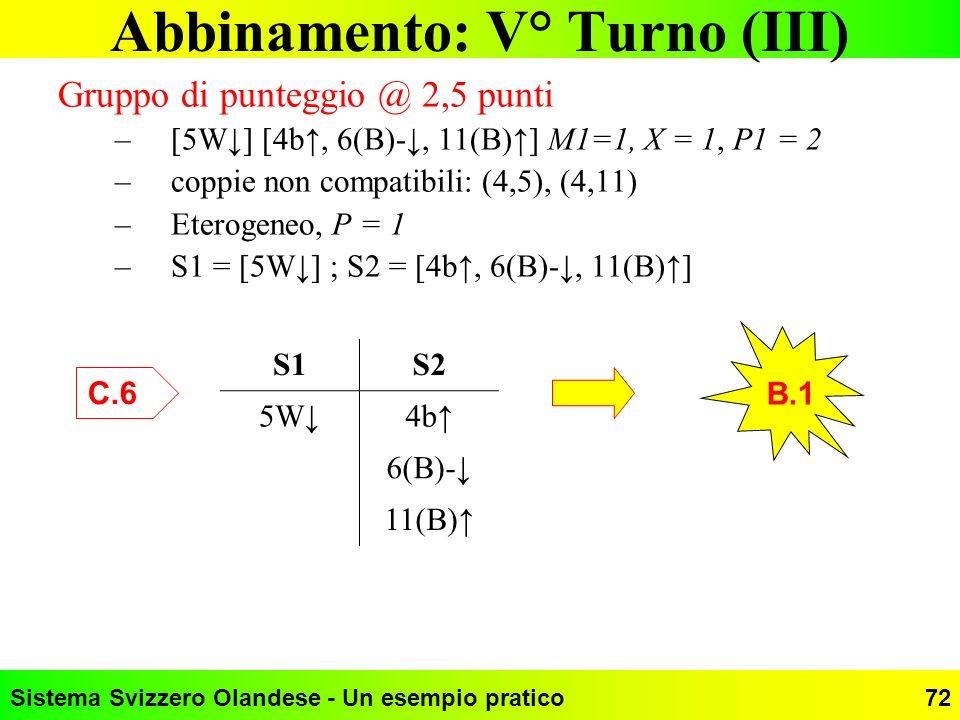 Abbinamento: V° Turno (III)