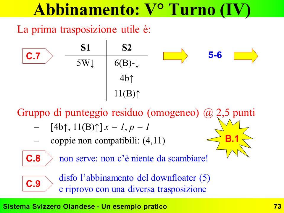 Abbinamento: V° Turno (IV)
