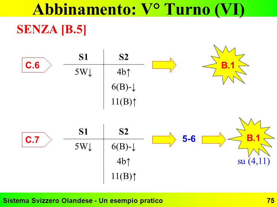 Abbinamento: V° Turno (VI)