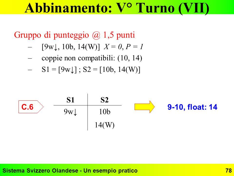 Abbinamento: V° Turno (VII)