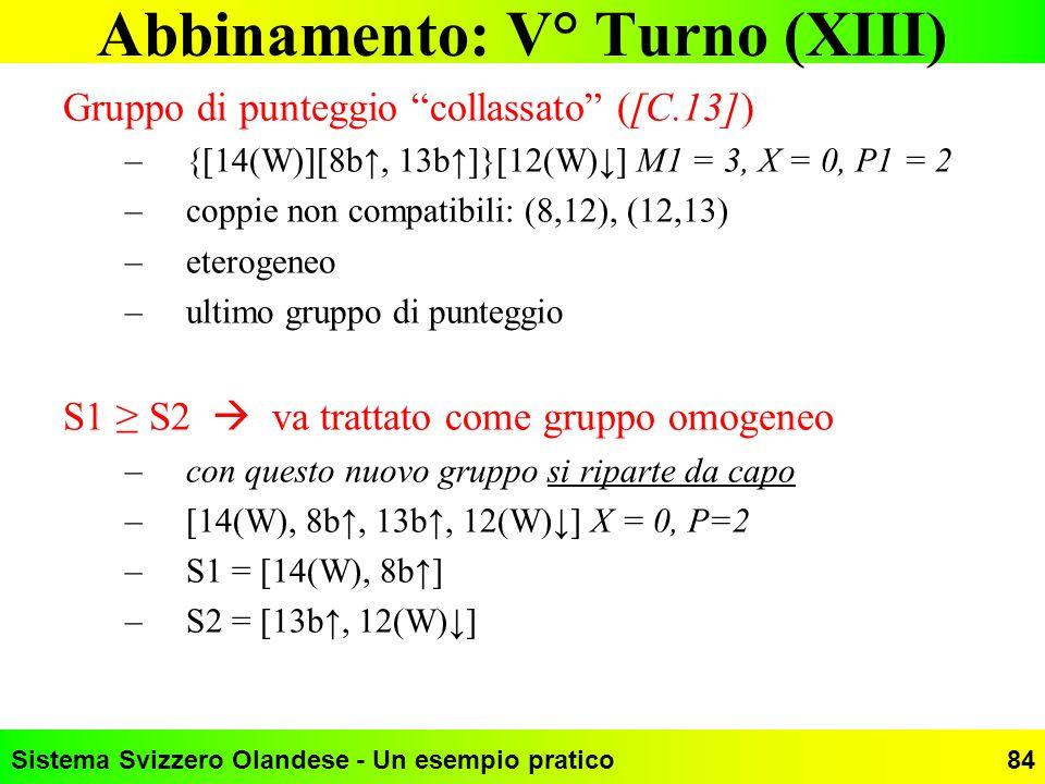 Abbinamento: V° Turno (XIII)