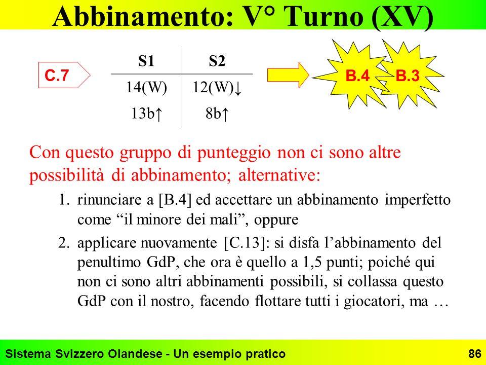 Abbinamento: V° Turno (XV)