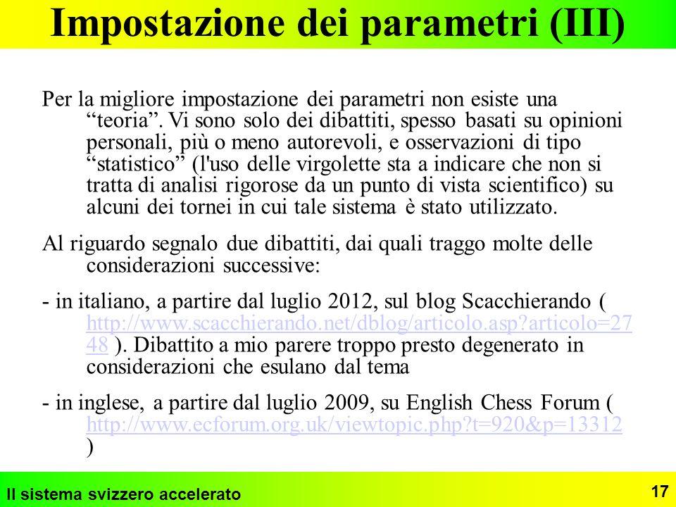 Impostazione dei parametri (III)
