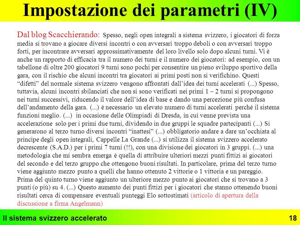 Impostazione dei parametri (IV)
